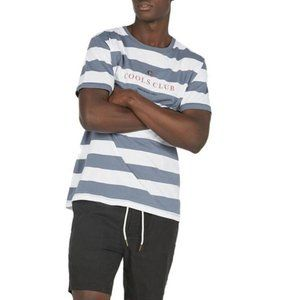 Barney Cools Blue White Striped Embroidered Tee S